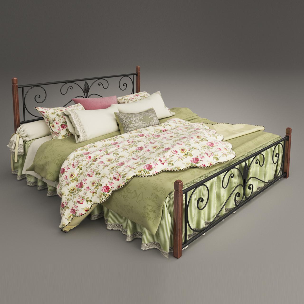 Кровать металлическая двуспальная Крокус на деревянных ногах