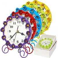 Часы настольные с камнями металл 12х15см