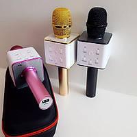 Беспроводной микрофон Q7 портативный караоке микрофон с динамиком  и чехлом, Bluetooth Microphone