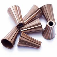 Конус Латунный для Бусин, Цвет: Медь, Размер: 11.5х8мм, диаметр внутри 6мм, Отверстие 2мм, (УТ0010138)