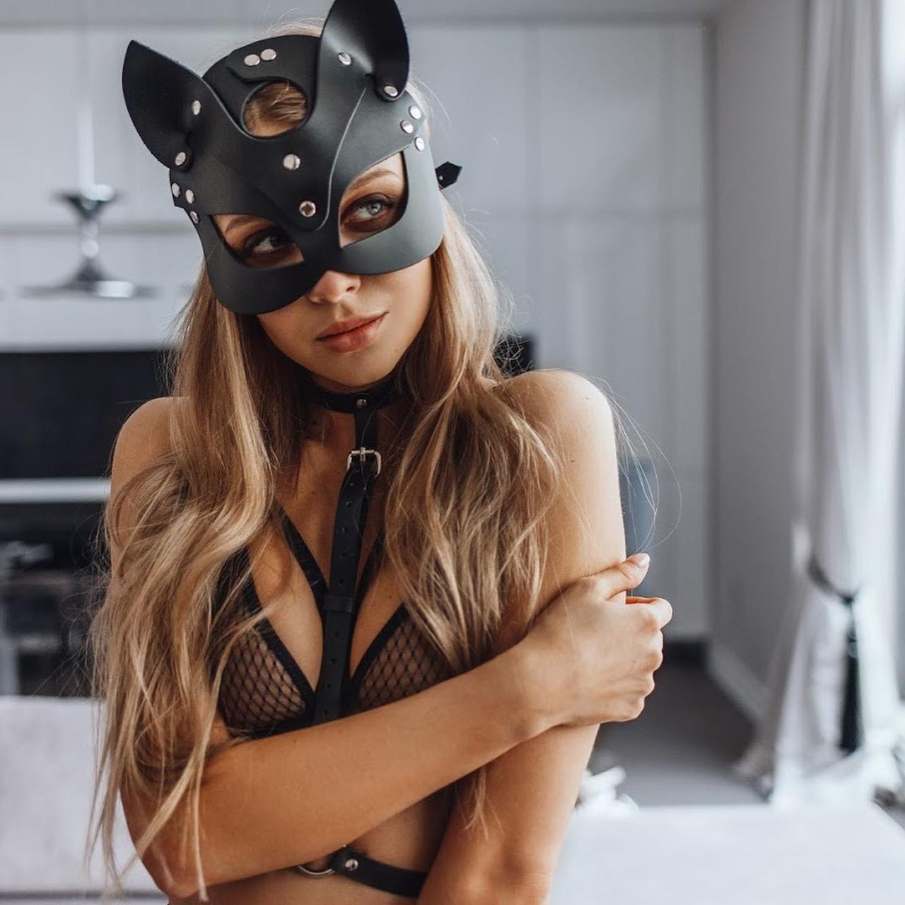 БДСМ кожаная маска кошечки OhYeah Cat Черная