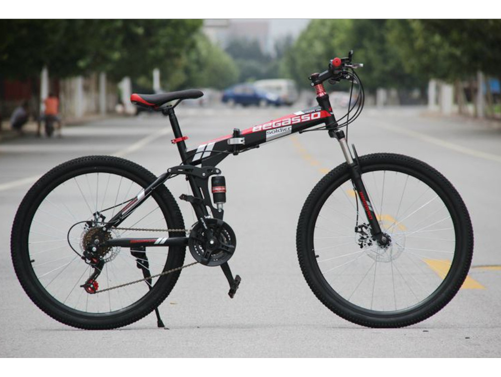 """Складаний Велосипед 26\"""" BeGasso Soldier рама 17\"""" чорно-червоний колір на зростання 155-185 см"""