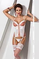 Сексуальный атласный корсет молочного цвета с подтяжками для чулков Danny corset Casmir (Касмир)