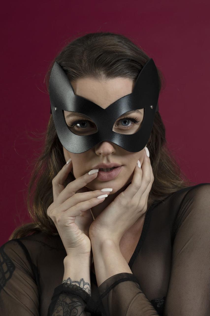 Сексуальная кожаная маска кошечки   эротический аксессуар Feral Feelings Kitten Mask Черная