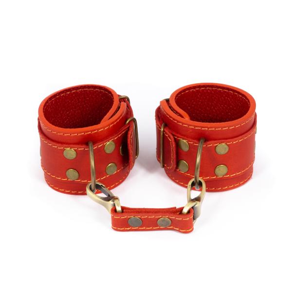 ПрЭротические кожаные наручники | эротические аксессуары бдсм LOVECRAFT manacles Красные (SO3292)