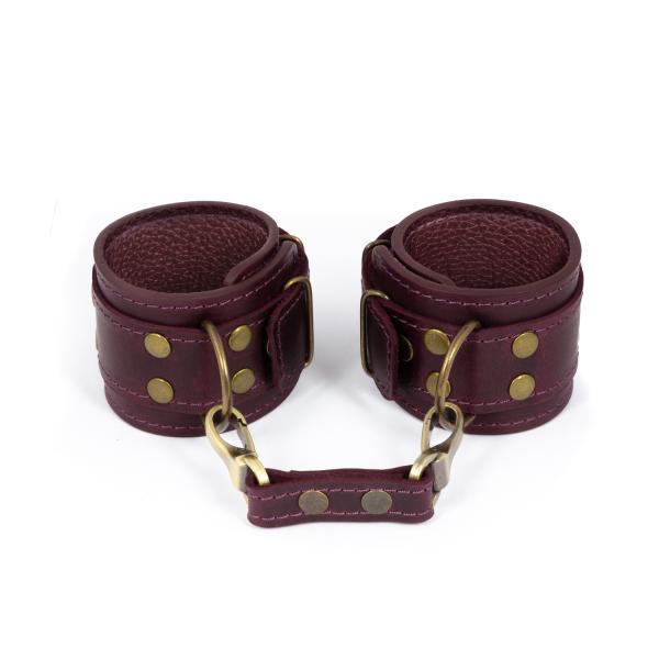 Эротические кожаные наручники | эротические аксессуары бдсм LOVECRAFT manacles Фиолетовые (SO3295)