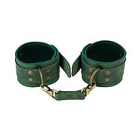 Поножи наручники для ног кожаные   эротические аксессуары бдсм оковы LOVECRAFT fetter Зеленые (SO3298), фото 1