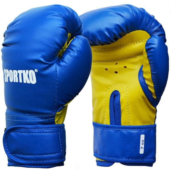 Боксерские перчатки SPORTKO, кожвинил (спортткань), вес - 7 унций (синие, красные, черные)