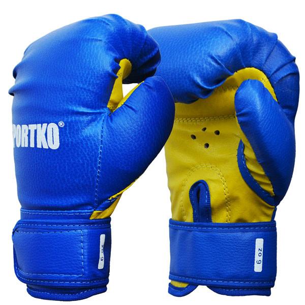 Боксерские перчатки SPORTKO, кожвинил (спортткань), вес - 6 унций (синие, красные, черные)