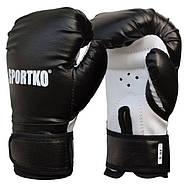 Боксерские перчатки SPORTKO, кожвинил (спортткань), вес - 6 унций (синие, красные, черные), фото 2