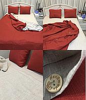 Льняная постель комплект KonopliUA 140х205 см Красно - серый