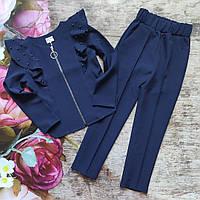 Стильный школьный костюм 2-ка для девочки (жакет и брюки).140,146р
