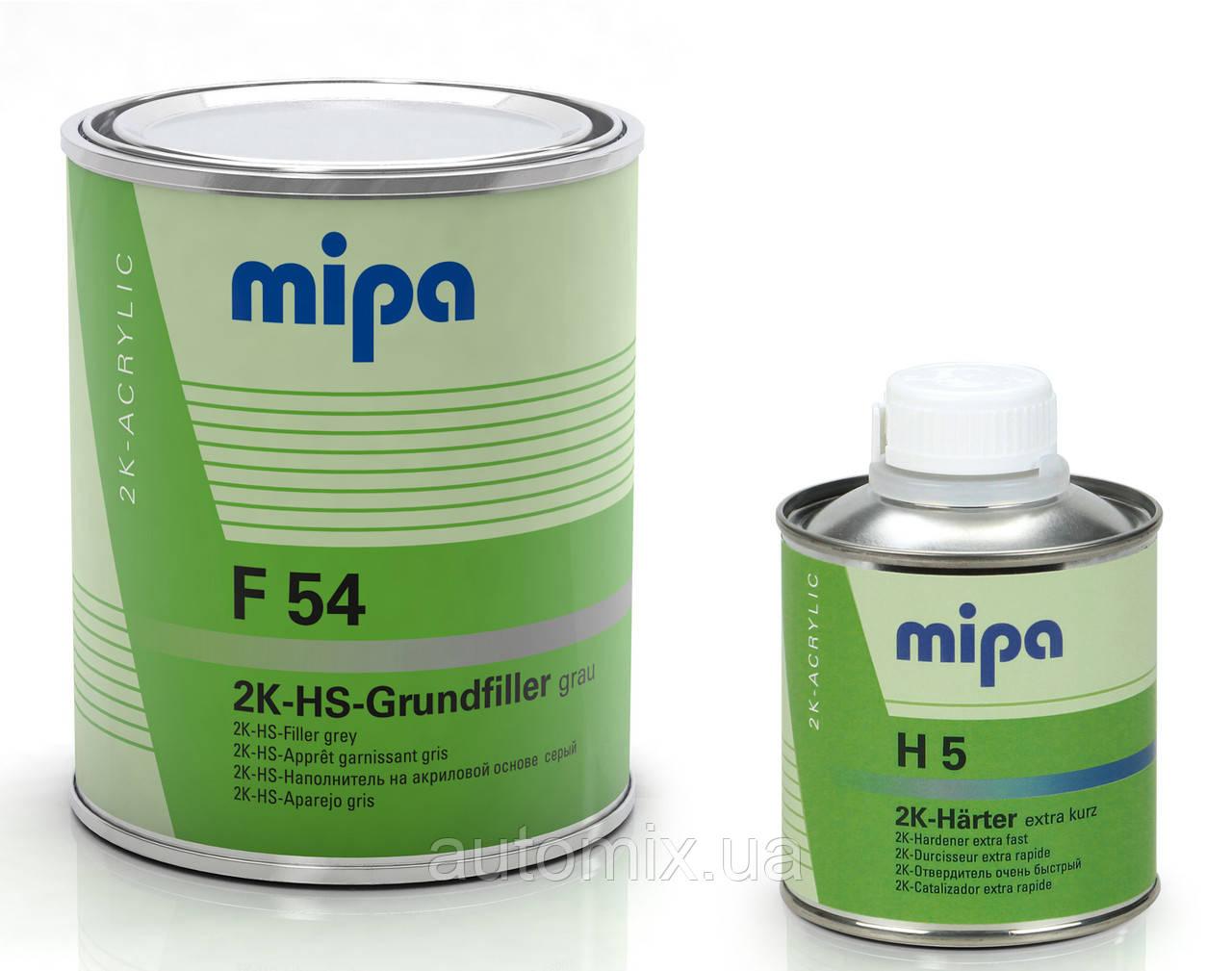 Грунт Mipa выравниватель F54 4+1 2K HS 1 л серый с отвердителем H5 0.25 л