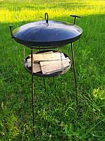 Сковорода из диска бороны 50 см с крышкой, подставкой для огня, чехлом