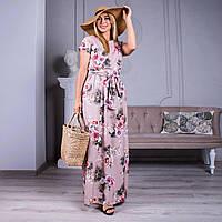 Пудровое длинное платье с розами пастельного цвета разные расцветки  44-46,48-50,52-54