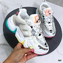 Стильные кроссовки женские белые с серым /розовым/ бирюза эко-кожа+ текстиль