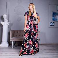 Яркое черное повседневное платье в пол из софта с красивым красным принтом  44-46,48-50,52-54