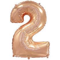 Фольгированный шар Flexmetal цифра 2 розовое золото 90 см