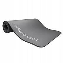 Коврик (мат) для йоги и фитнеса SportVida NBR 1 см SV-HK0247 Grey, фото 3