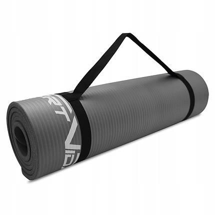 Коврик (мат) для йоги и фитнеса SportVida NBR 1 см SV-HK0247 Grey, фото 2