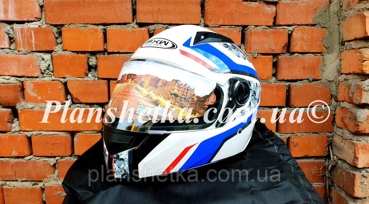 Шлем для мотоцикла Hel-Met 111 белый с рисунком S/M