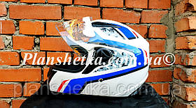 Шлем для мотоцикла Hel-Met 111 белый с рисунком S/M, фото 2