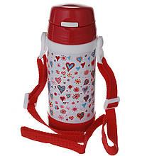 Термос детский с трубочкой красный
