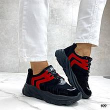 Женские кроссовки черные с красным эко-замша + эко-кожа