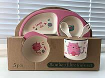 Детский набор посуды из бамбука Lovely Cat