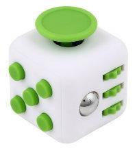 Кубик антистресс с кнопками. белый с зелеными кнопками