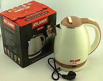 Электрочайник дисковый Atlanfa AT-H01 2л с нержавейки, бежевый