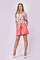 Женский костюм: свободные шорты + шелковая рубашка (блузка)