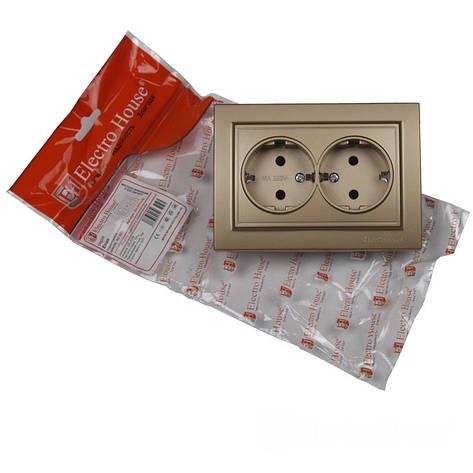 ElectroHouse Розетка двойная с заземлением Роскошно золотой Enzo 16A IP22, фото 2