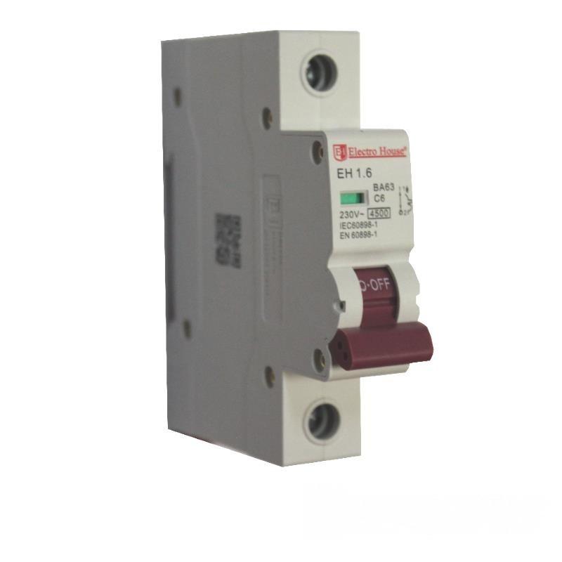 ElectroHouse Автоматичний вимикач 1P 6A 4,5 kA 230-400V IP20