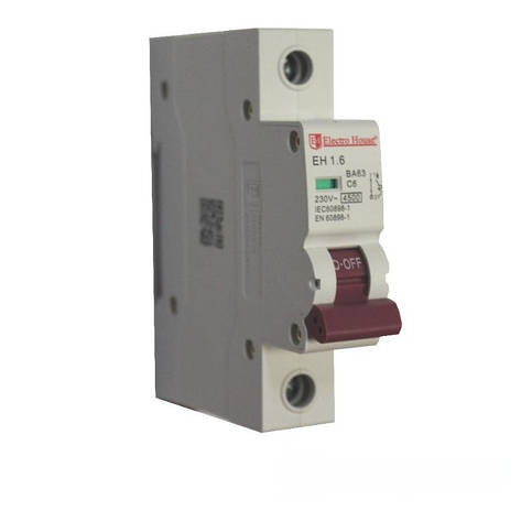 ElectroHouse Автоматичний вимикач 1P 6A 4,5 kA 230-400V IP20, фото 2