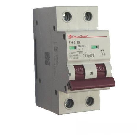ElectroHouse Автоматический выключатель 2P 10A 4,5kA, фото 2