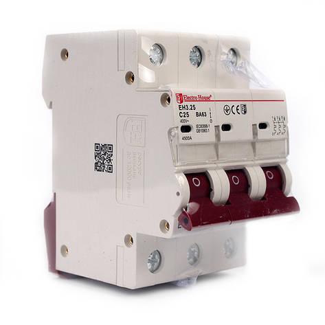 ElectroHouse Автоматический выключатель 3P 25A 4,5kA 230-400V IP20, фото 2