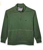 Кофта трикотажная утепленная на короткой молнии Nautica Mens Classic Fit Fleece Pullover B07TPYLPX3 зеленая