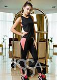 Черный с розовым спортивный костюм из эластика с оригинальной маечкой, фото 3