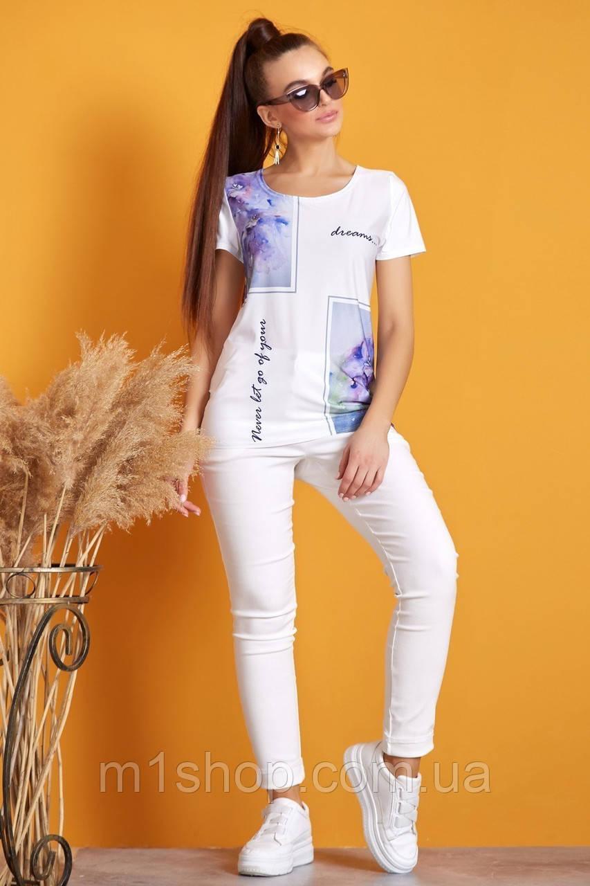 Женская удлиненная футболка с принтом (1212 svt)