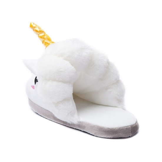 Домашние тапочки шлепанцы Единорог белые