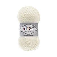Пряжа Alize Extra (Ализе Екстра) 10% шерсть, молочный 62