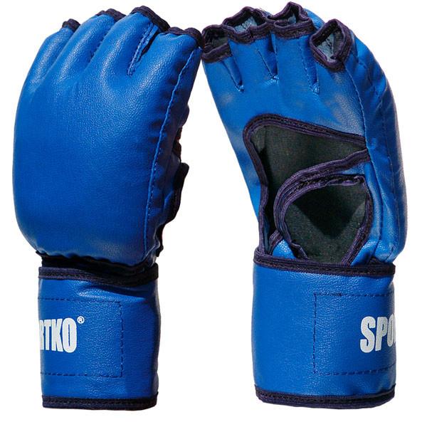 Рукавички для тхеквондо з відкритими пальцями SPORTKO (кожвініл) (M-XL) (Синій, Червоний, Чорний)