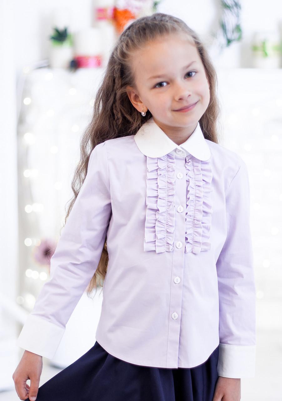 Школьная блузка сиреневого цвета мод. 3002