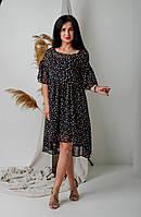 Женское шифоновое платье асимметрия с цветами 44-46