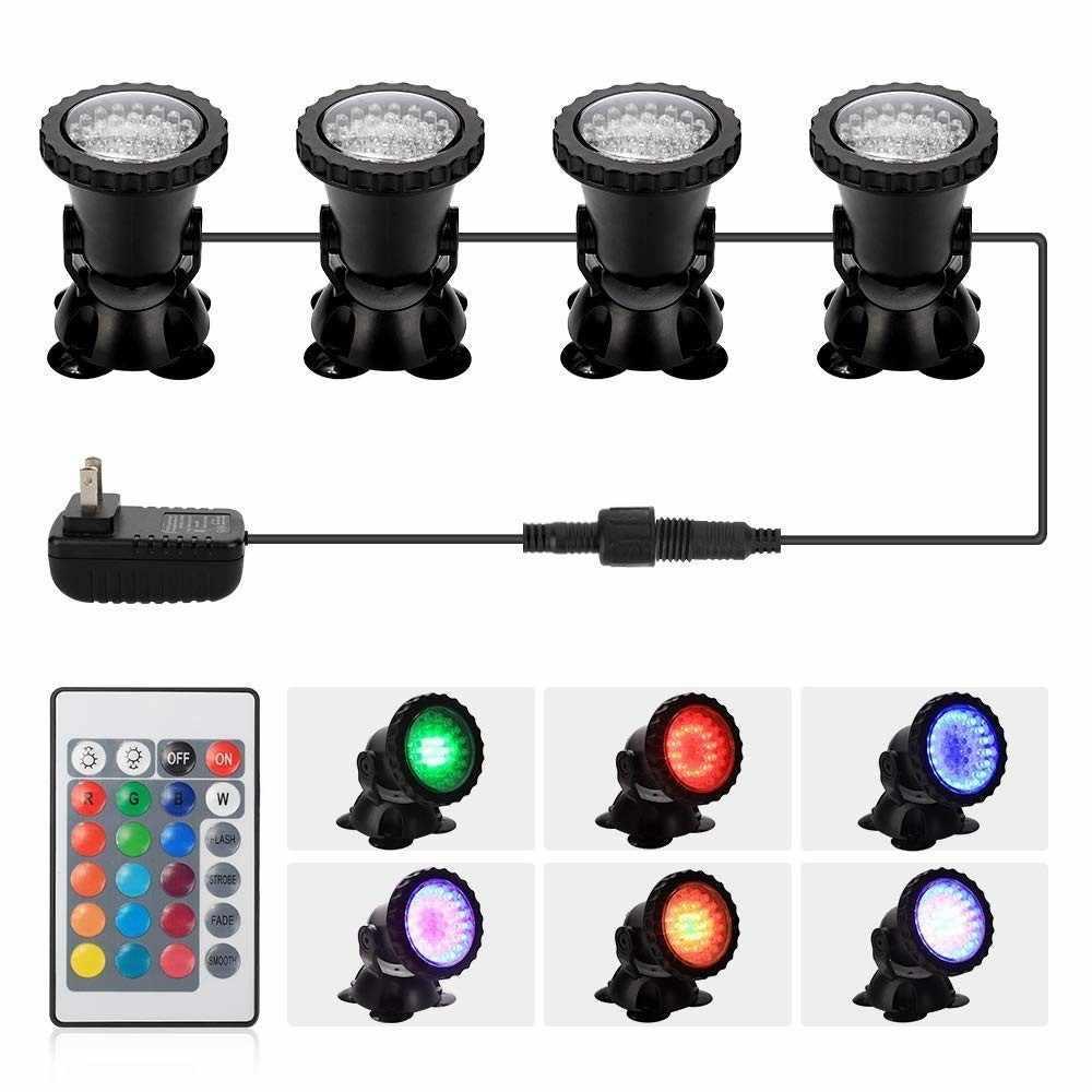 Светильники для пруда RGB 36 Led четыре светильника с пультом