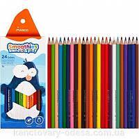 Олівці 24 кольорів трикутні Smoothies b&p суперм'які Marсo (6)