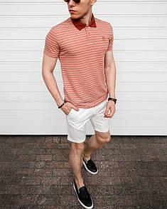 "Мужская футболка Поло ""Stripe"" - Персик"