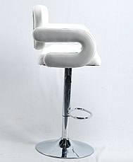 Белое кресло клиента на устойчивом хромированном круглом основании с подножкой GOR Bar CH - Base, фото 2