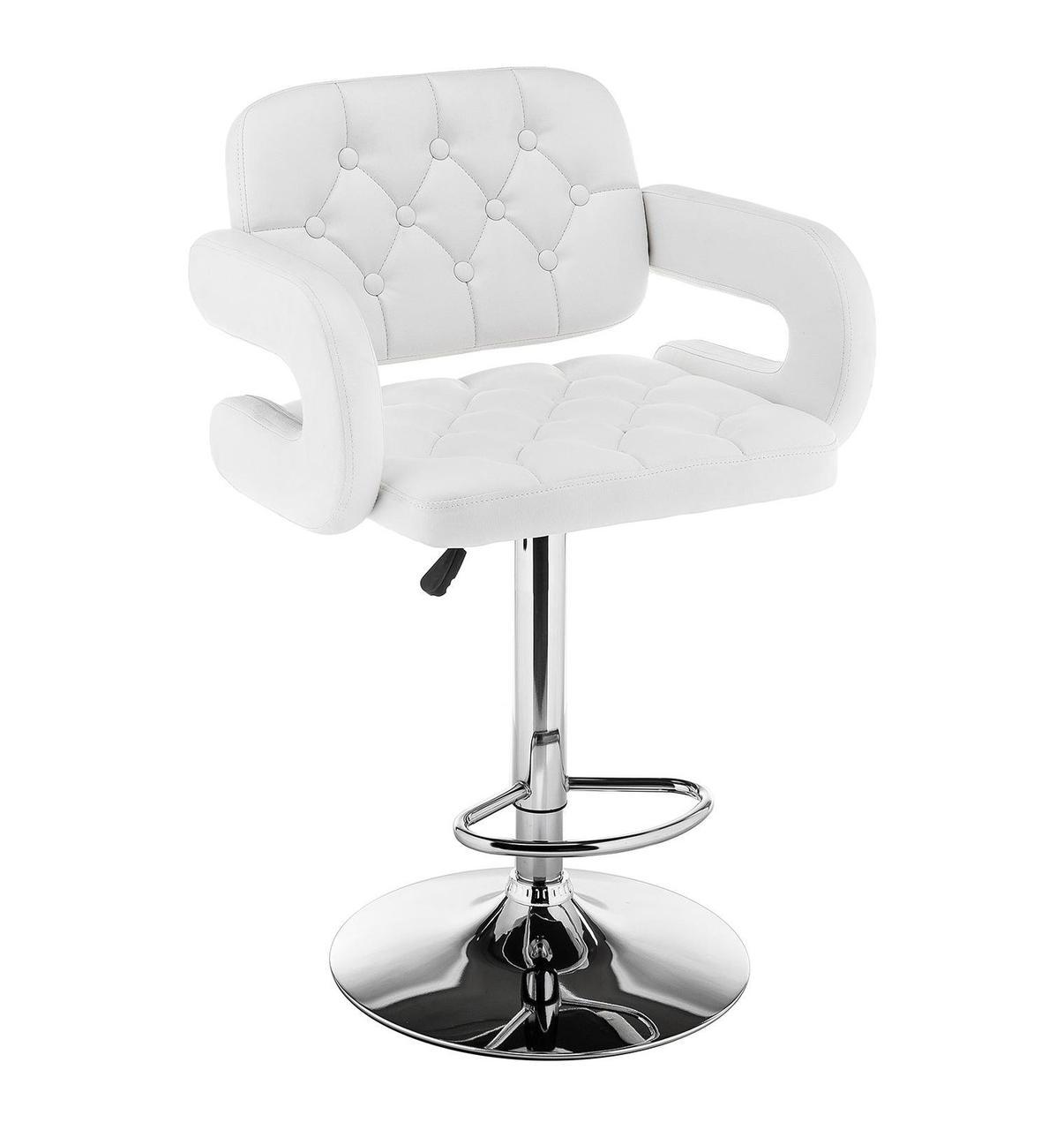Белое кресло клиента на устойчивом хромированном круглом основании с подножкой GOR Bar CH - Base